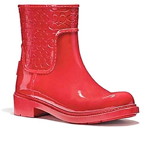 Coach Women's Signature Rubber Rain Boots True Red 6