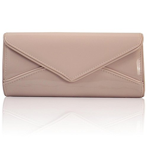 Bags Flesh Zarla Shoulder Women NEW Party Patent UK Envelope Clutch Bridal Ladies Evening 7HSq7zx