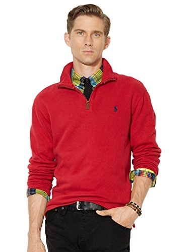 6a6cf359d32e Galleon - Polo Ralph Lauren Men s Half Zip French Rib Cotton Sweater Large  Pioneer Red