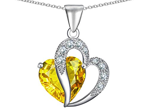 Star K Heart Shape 12mm Simulated Citrine Pendant Necklace Sterling Silver ()