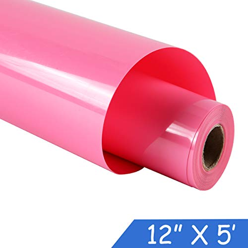 guangyintong Adhesive Heat Transfer Vinyl for T-Shirts 12 X 5 Feet Glossy Vinyl Roll (Pink-k13)
