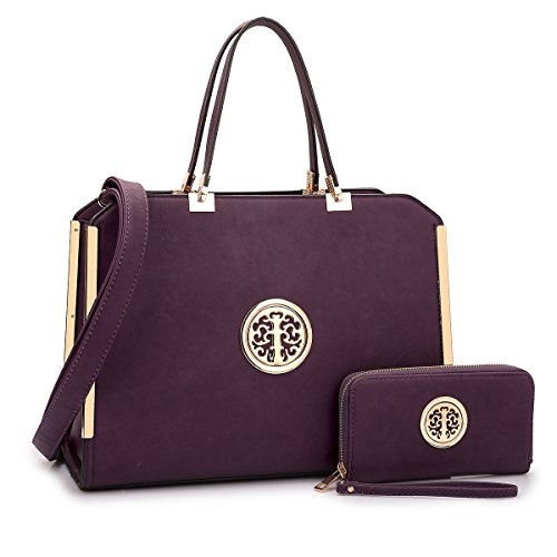 MMK collection Women Fashion Matching Satchel handbags with wallet(6900)~Designer Purse ~Multi Pocket ~ Beautiful Designer Handbag Set (XL-09-6900 (09-168) Purple)