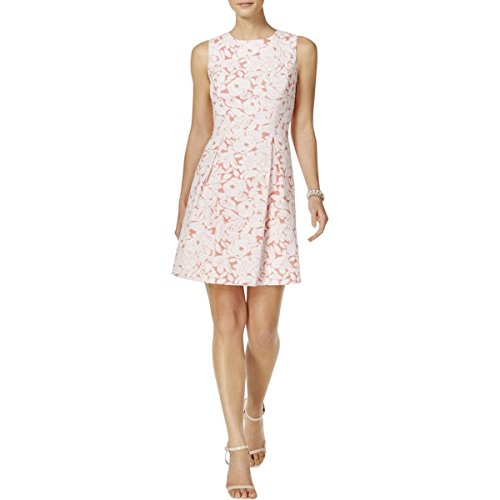 Jessica Howard Womens Petites Floral Pleated Special Occasion Dress Pink 14P (Jessica Howard Special Occasion Dresses)