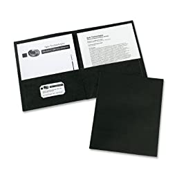 Avery Two-Pocket Folders, Black, Box of 25 (47988)