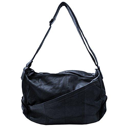 Damen Schultertasche, Umhängetasche , Shopper (41/ 30/16) echtes Leder Mod. 2012 by Fashion-Formel Dunkelblau