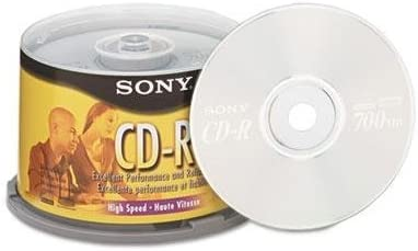 25 Pack Spindle Sony CD-R 80 Minutes 700MB 1-48X Speed Recordable Blank Discs