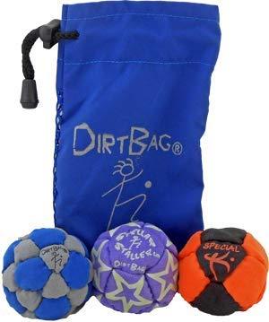 Dirtbag Medley Footbag Hacky Sack 3 Pack - Grey/Blue by Dirtbag