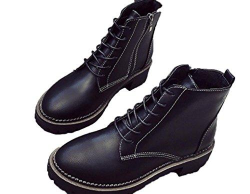 black bottes Nouveau de femme de Martin Bottes ronde moto Bottes de étanche XDGG 7Fgq6aBw