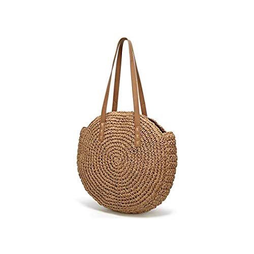 Women's Straw Handbags Beach Tote Bag Large Shoulder Bag Summer Woven Round Retro Chic Handle Bag (Coffee color)
