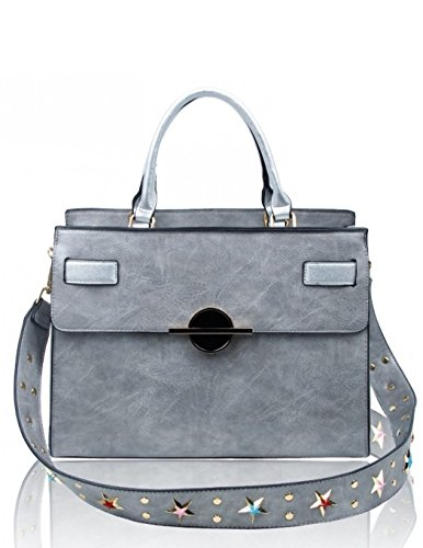 Bag A4 College Handbags Tote Shoulder Bags Fashion LeahWard Women's Large Faux CW160965 Silver Leather Grab 7nTtHPqHx