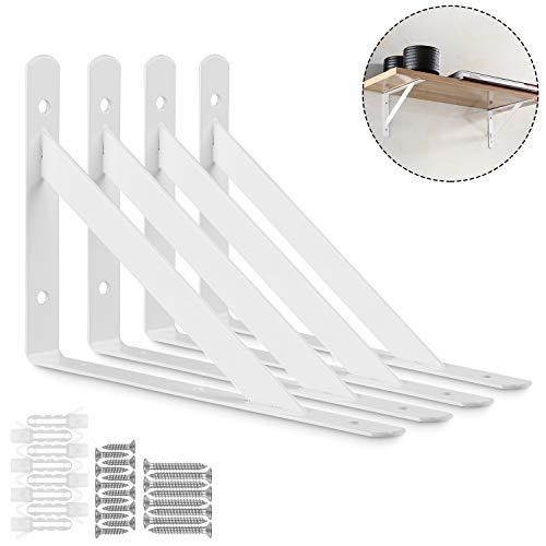STARVAST 4 Pack Heavy Duty Shelf Brackets 9.8 x 6.3 inch, Floating Shelves White Triangle Shelf Brackets, 90 Degree Angle Wall Mounted Shelf Supporter Corner Bracket ()