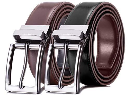 (Marino Reversible Leather Belt For Men - Classic Dress Belt 1.25