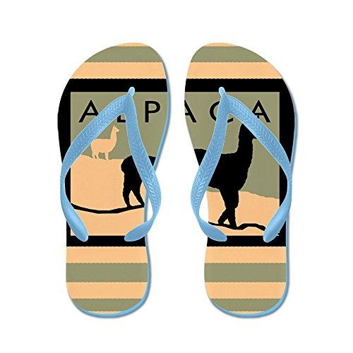 Cafepress Alpackor Sluttning - Flip Flops, Roliga Rem Sandaler, Strand Sandaler Caribbean Blue