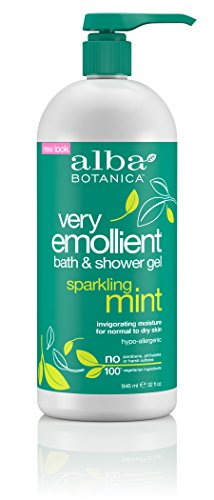 (Alba Botanica Very Emollient Sparkling Mint Bath & Shower Gel, 32 oz.)