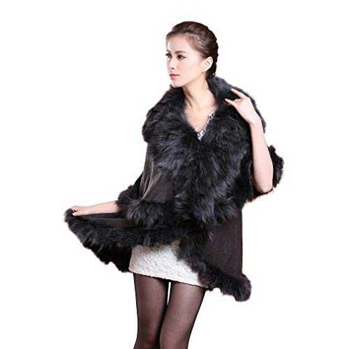 Women's Cashmere Poncho Coat With Fox Fur Collar And Hem For Winter (Fur Story 18705)