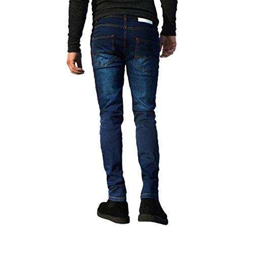 ajustados Azul cintura vaqueros algodón de los recta disponibles elásticos para tamaños pernera hombre de Pantalones Oscuro todos t4Zx1wqCx