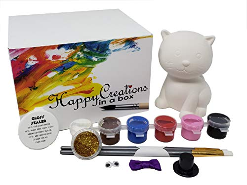 Kitty Own (Ceramics, Paint Your own Kitty The cat Includes Ceramic Kitty, 6 Color Set of Paints, Pair of Brushes, Googly Eyes, Mini Bow, Mini hat, Glitter, Gloss Sealer and Super Glue.)