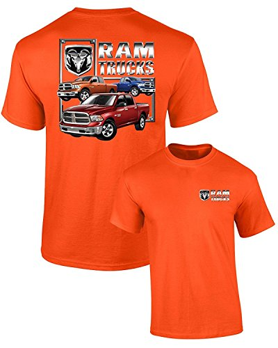 Dodge T-Shirt RAM Trucks (3 Trucks) F&B Guts Glory, Orange, XL