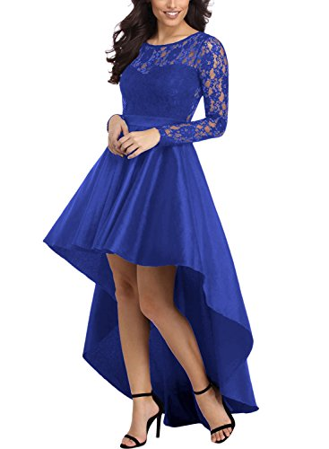 Bdcoco Women's Vintage Lace Long Sleeve High Low Cocktail Party Dress