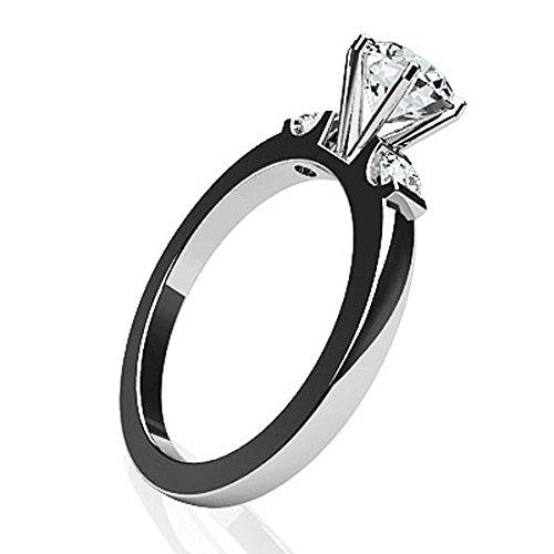 14K Or blanc diamant côté Accent Solitaire