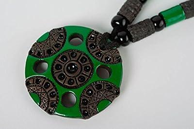 Handmade clay pendant milk firing technique black with green stylish accessory