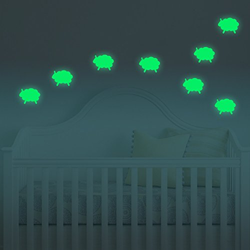 FLY SPRAY Bedroom Glow in the Dark Sheep Luminous Vinyl Wall Ceiling Stickers Removable Adhesive Wall Decal Baby Nursery (Story Behind Halloween Day)