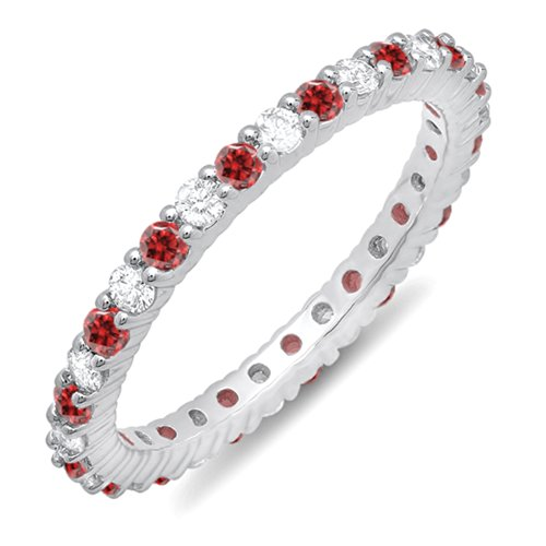 14K White Gold Round Ruby & White Diamond Ladies Eternity Stackable Ring Wedding Band by DazzlingRock Collection (Image #1)'