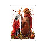 INTERESTPRINT Redhead Girl and The Dog Ultra Soft Lightweight All-Season Throw Blanket for Sofa Couch Bed