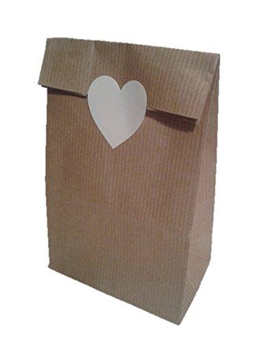 50 bolsas kraft con etiqueta de corazón blanca: Amazon.es ...