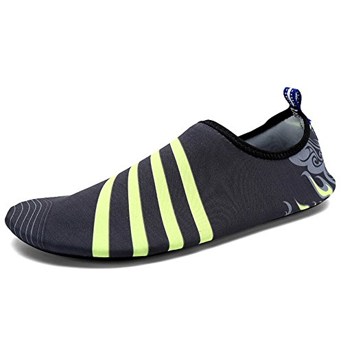 Lxso Mens Womens Swim Shoes Quick Dry Aqua Water Socks Slippers Lightweight Barefoot Skin Shoes For Beach Pool Gray VUW90s