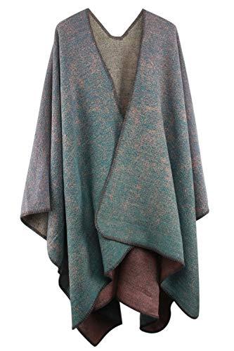 VamJump Women Winter Pashmina Oversized Blanket Poncho Cape Shawl Cardigan Coat, Blue-2, One Size