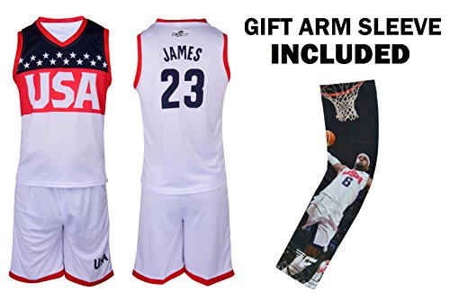 Fan Kitbag James Jersey Kids Lebron Basketball USA White James Jersey & Shorts Youth Gift Set ✓ Basketball Compression Shooter Arm Sleeve ✓ Premium Quality (YS 6-8 Years, James Jersey - For Usa Kids