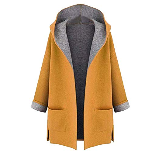 Sunward Women's Oversize Lapel Wool Blend Longline Winter Fall Warm Coat Overcoat (L, ()