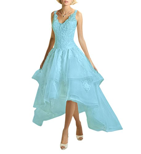 Bridal Skyblue Dress Gown V Neck Straps Bridal Wedding Lace Vintage Low High Amore ZHUdqgg