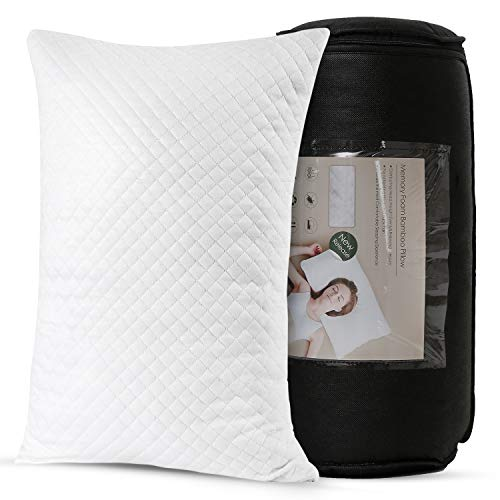 Mr.Sandman Bamboo Bed Pillow for Sleeping Queen Size, Adjustable Shredded Memory Foam Pillow with Washable Pillow Case (1-Pack)
