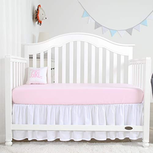 Designthology (U.S.) Microsilk Fitted Crib Sheets for Babys Hair (28 X 52 Pearl Pink) - Toddler Sheet Set for Baby Boys and Girls - Breathable Soft Cozy Hypoallergenic Baby Sheet