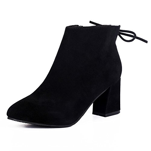 Womens Fashion Suede Pointed-toe Mid Heels Casual Back Lace Ankle Boots Black G6pLt