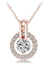 18k Platinum or Rose Gold Plated Austrian Crystal Circle...