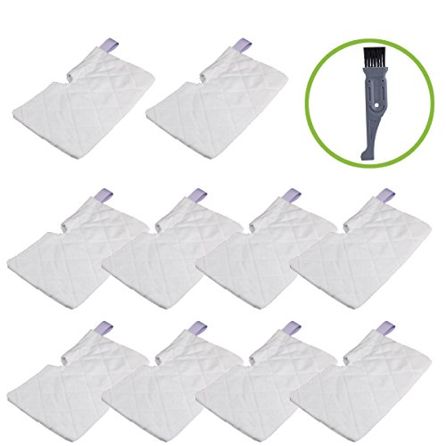 I-clean 10 packs Shark Replacement Pocket Steam Mop S3500 series 3501 3550 S3601 S3901, Standard (13 X 7) Washable Microfiber Pad for Shark Vacuum,With A Free Cleaning Brush (Shark S3501 Replacement Head)