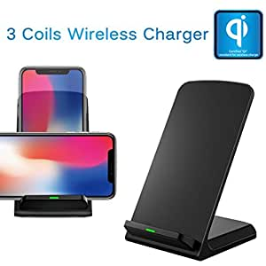 Iuhan New 3-Coil Wireless Charger QI Wireless Charging Phone Stand For iPhone 8/8 Plus/X