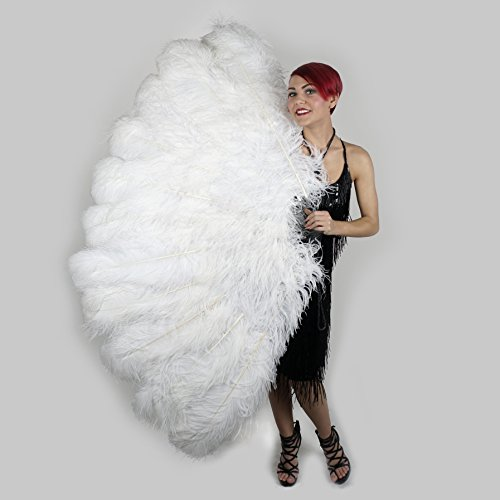 Feather Fan w/Ostrich Femina - White by ZUCKERTM