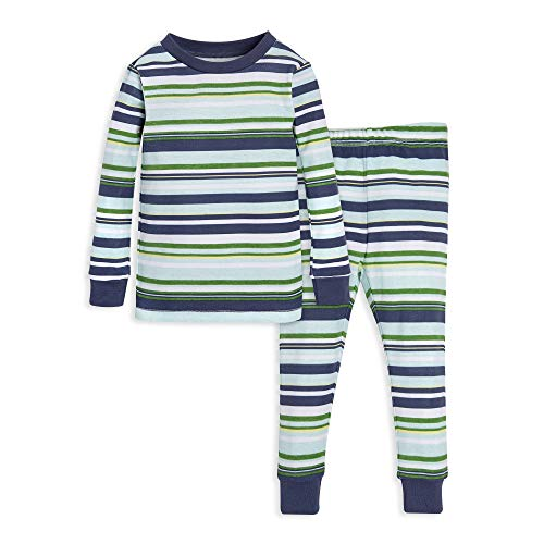 Set Pajama Ribbed Piece 2 - Burt's Bees Baby Unisex Baby Pajamas, Tee and Pant 2-Piece PJ Set, 100% Organic Cotton, Indigo Vintage Stripe, 18 Months