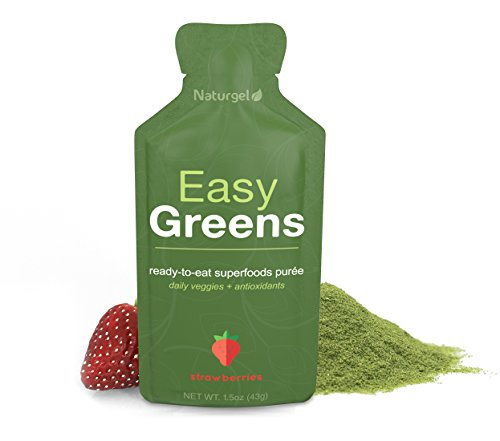 Naturgel Easy Greens, Strawberries 14-Pack - Amazing Greens Powder Mixed in Fruit Puree - Ready-to-Eat Daily Green Pre-Made Superfood