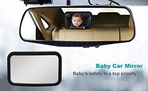 R/ücksitzspiegel f/ürs Baby Bruchsicherer Autospiegel Baby Auto R/ückspiegel f/ür Babyschale und Kindersitz Car R/ückspiegel Autositz-Spiegel doppelriemen mit 360/° schwenkbar f/ür Baby Kinderbeobachtung