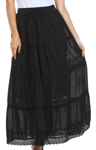AA754 - Solid Embroidered Gypsy/Bohemian Full/Maxi / Long Cotton Skirt - Black/One Size (Embroidered Skirt Full)