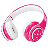 Wireless Bluetooth Headphones for Kids Boys Girls Over Ear,Built-in Mic,Stereo Sound ,3.5mm Audio Jack Cable for Pc Tablet Cellphone(Pink)