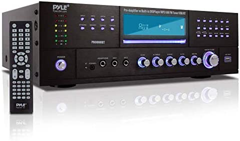 4-Channel Residence Theater Bluetooth Preamplifier – 3000 Watt Stereo Speaker Residence Audio Receiver Preamp w/ Radio, USB, 2 Microphone w/ Echo for Karaoke, CD DVD Participant, LCD, Rack Mount – Pyle PD3000BT