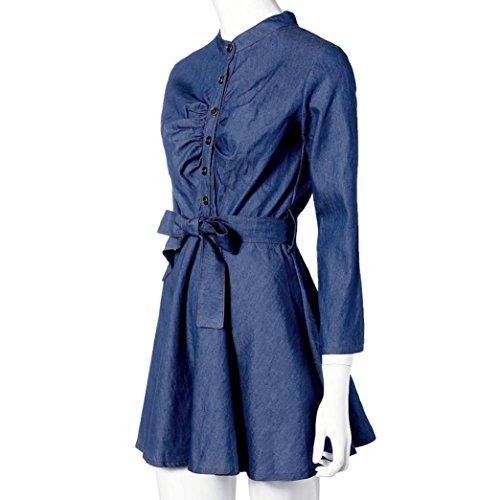 FEITONG Romper atractivo del vestido largo de la manga del dril de algodón Azul