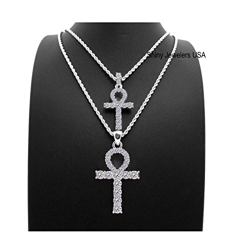 MENS HIP HOP SILVER ICED OUT MICRO DOUBLE ANKH CROSS PENDANT CUBAN ROPE BOX CHAIN NECKLACE SET (Silver Rope chain 20