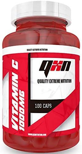 QXN New Vitamin C 1000mg 100 Cápsulas | Complemento Alimenticio con 1000mg de Vitamina C por Cápsula, Evita Envejecimiento Celular, Previene Lesiones, ...